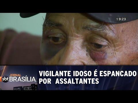 Vigilante idoso é espancado por assaltantes | Jornal SBT Brasília 13/07/2018