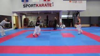 Kumite sparring í Fylki 12 mars