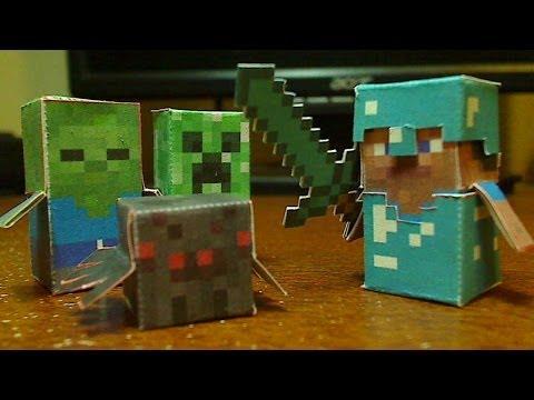 DIY Minecraft Hostile Mobs Minis Set - Steve, Creeper, Zombie, And Spider