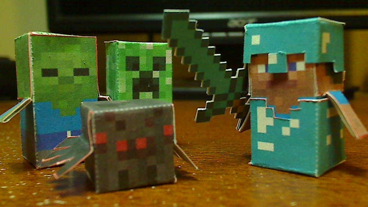 DIY Minecraft Hostile Mobs Minis Set - Steve, Creeper, Zombie, and on