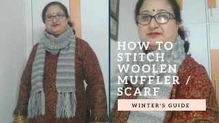 To knit woolen muffler / scarf  with separate head portion this #winter