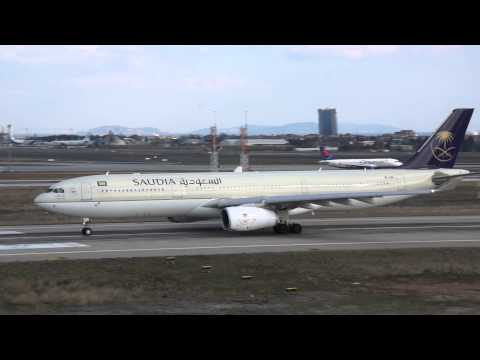 Saudi Arabian Airlines Airbus A330-300 taking off from Ataturk Airport, Istanbul