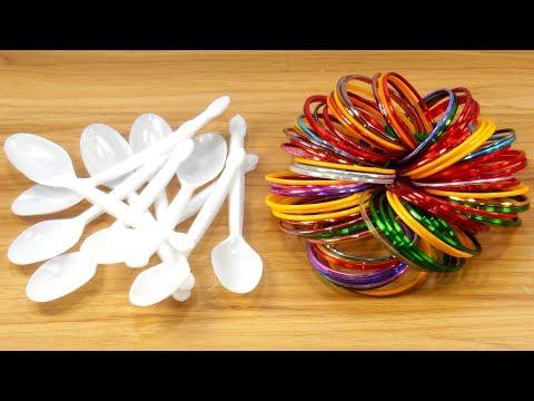 DIY Plastic spoon & Old bangles reuse idea | DIY art and craft | DIY HOME DECO