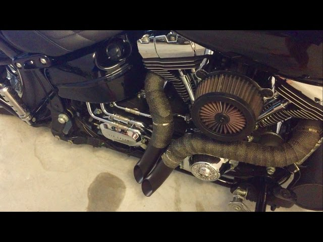Harley Davidson FXSB Breakout Vance&Hines and Drag Pipes Sound