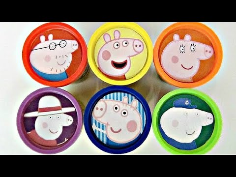 Learn Colors with Nick Jr. PEPPA PIG Play doh Toy Surprises, George, Mummy, Daddy, Grandpa / TUYC