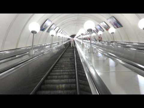 Longest escalators in Europe @ Park Pobedy , Moscow