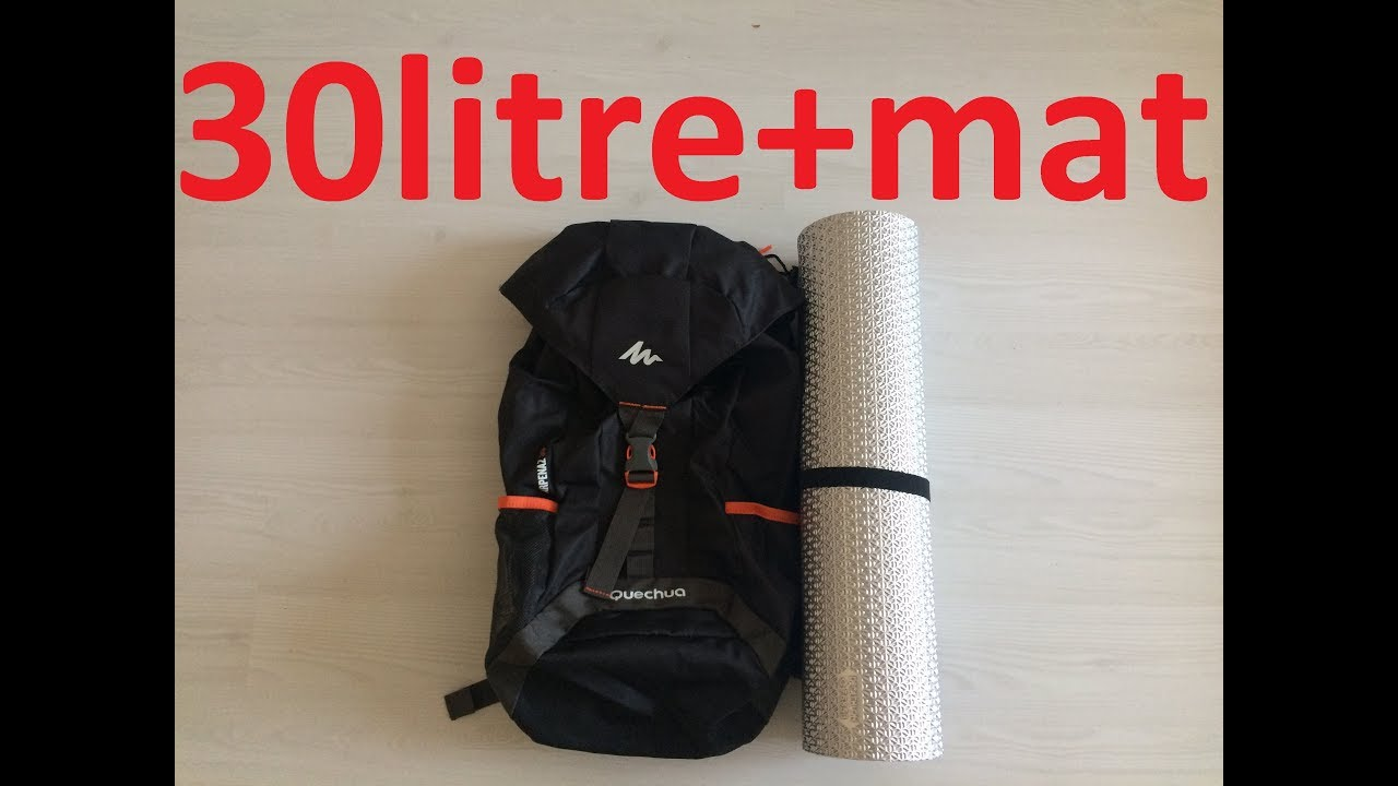 30526bc7ca790 QUECHUA NH100 OUTDOOR SIRT ÇANTASI 30 LİTRE + MAT (DECATHLON) - YouTube