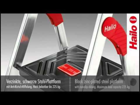 leiter hailo xxr 225 championsline aus aluminium standh he 62cm 5 stufen youtube. Black Bedroom Furniture Sets. Home Design Ideas