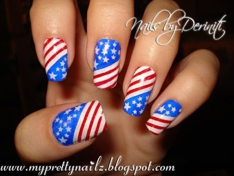 Patriotic 4th of July Independence Day USA American Flag Stars & Stripes Nail  Art Design Tutorial - Patriotic 4th Of July Independence Day USA American Flag Stars