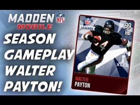 Madden Mobile - Season Gameplay! Walter Payton Legend!