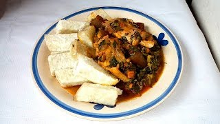 How to make vegetable sauce and boiled yam
