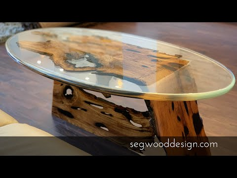 Bended oak and clear epoxy coffee table.