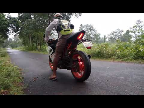 KTM RC 390 burn out with modified exhaust M4 sound