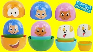 Play Doh BUBBLE GUPPIES SURPRISE EGGS Stacking Nesting Cups Pocoyo Disney Frozen HelloKitty