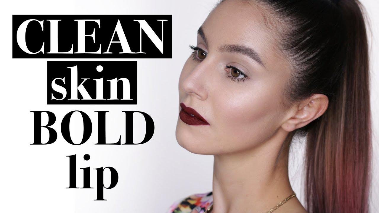 861e19c59012 Clean Glossy Skin   Dark Red Lip Makeup Tutorial