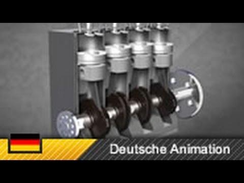 Dieselmotor / 4-Zylinder-Motor / Viertakter - Funktionsweise (Animation)