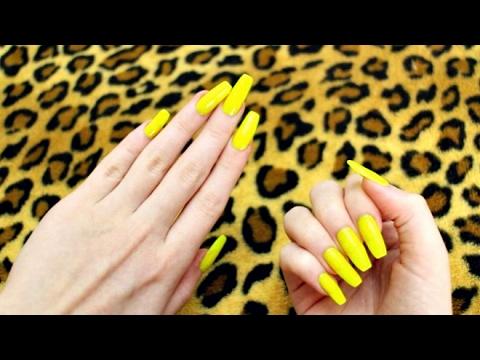 ASMR | Nail flicking and nail clicking sounds with long neon yellow ...