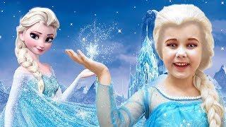 Frozen Elsa Kids makeup & Yulya pretend princess
