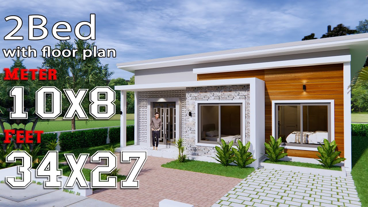 House Plans 10x8 with 2 Bedrooms Shed Roof - House Plans S