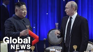 Kim Jong Un and Putin attend reception, toast to friendship after summit