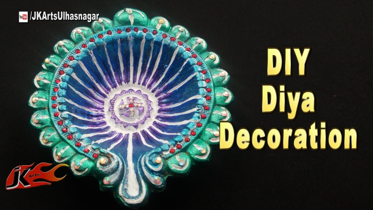 Diy how to decorate diwali diya diwali home decoration for Diya decoration youtube