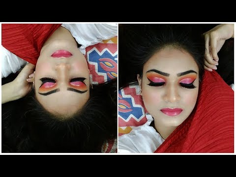 Red Orange Eye Makeup with Hint of Pink..