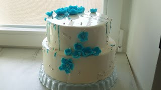 Двухъярусный муссовый  торт Сборка Покрытие зеркальной глазурью Украшение