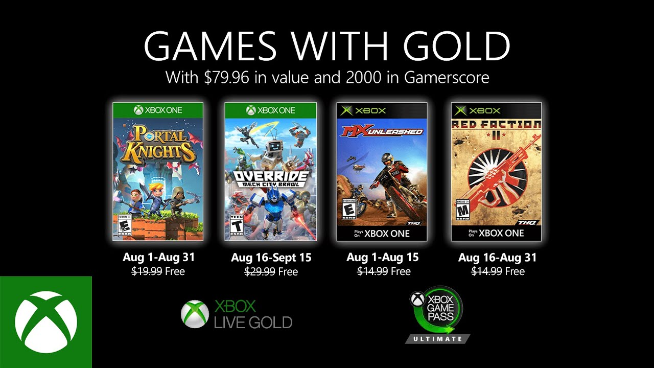 Games With Gold: giochi GRATIS di Agosto su Xbox One e 360