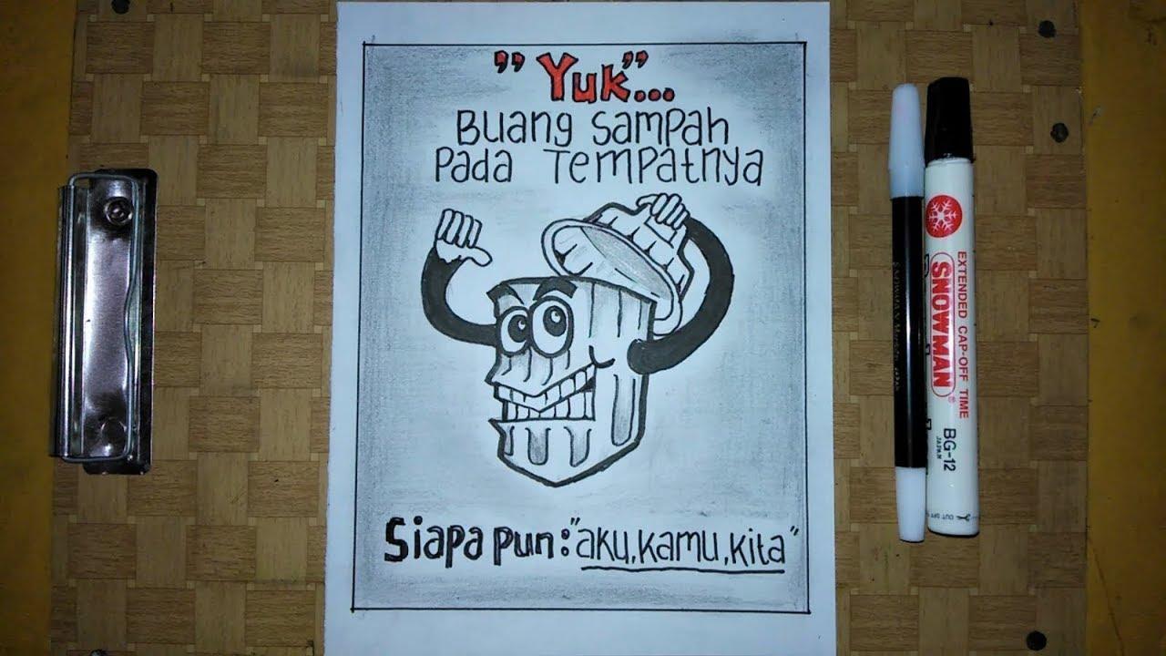 Cara Membuat Poster Kebersihan Lingkungan Yang Mudah Youtube
