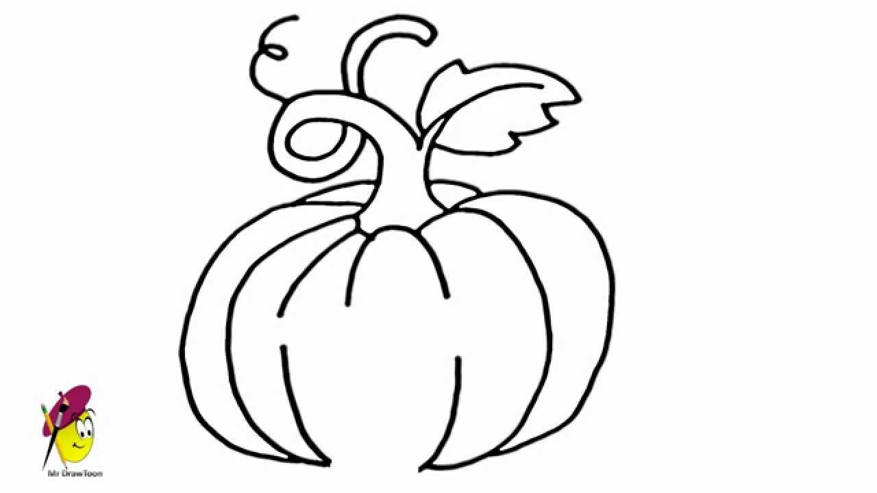 pumpkin how to draw pumpkin fruits and vegetables youtube