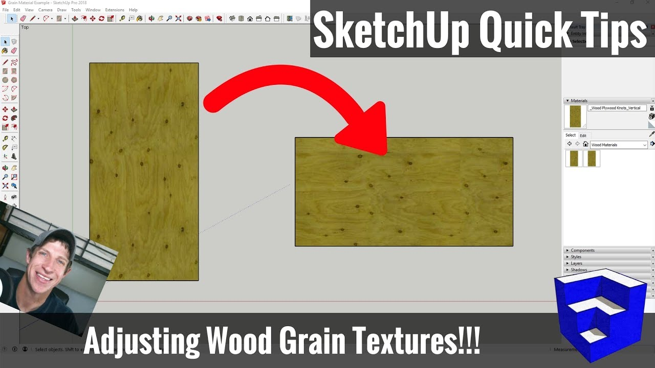 Changing Wood Grain Material Directions in SketchUp - SketchUp Tips for  Woodworkers