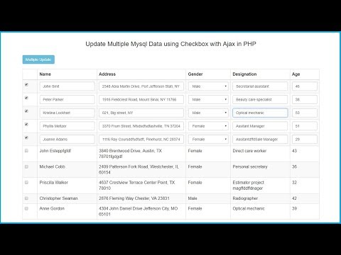 Update Multiple Rows with Checkbox in PHP using Ajax Jquery   Webslesson