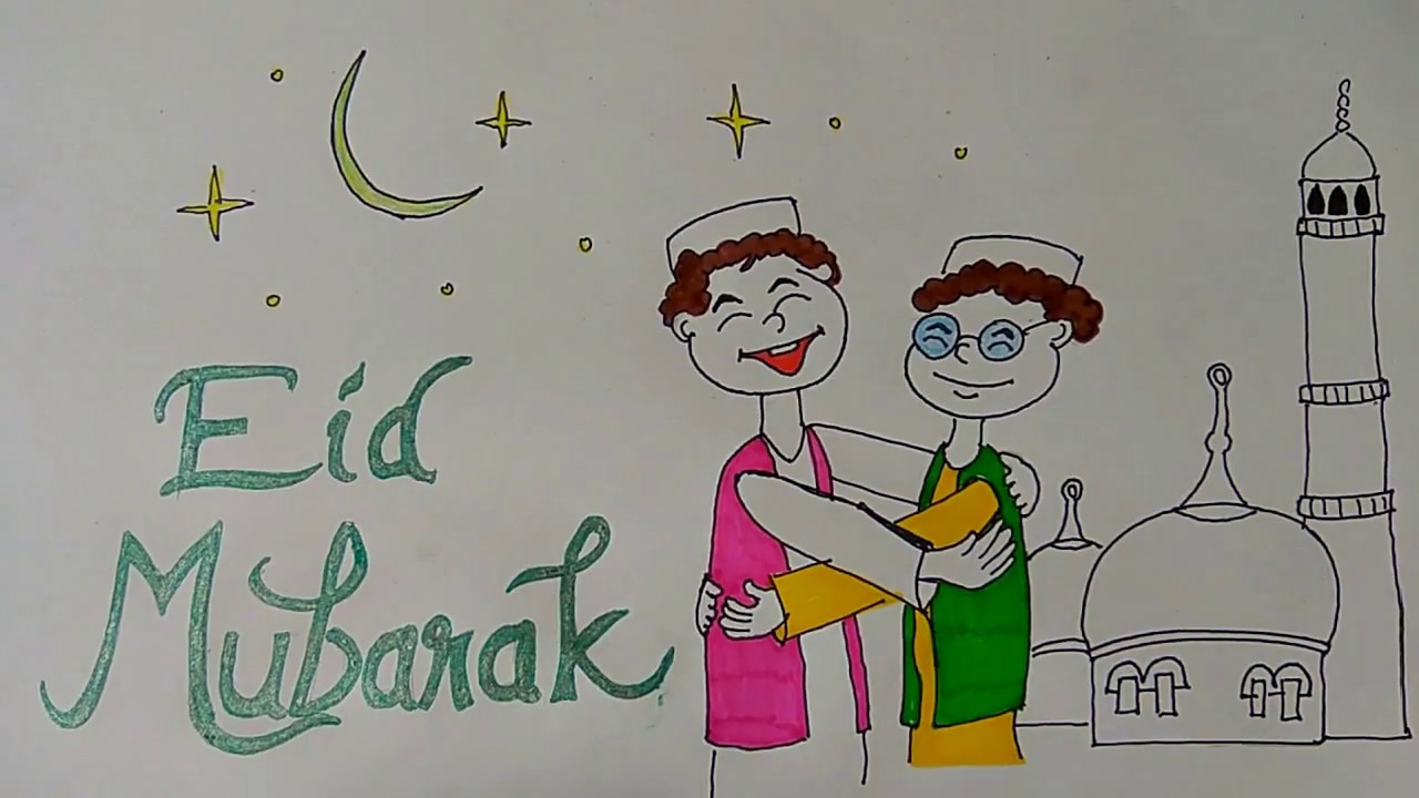 Eid mubarak drawings for kids eid festival drawing for Eid decorations to make at home