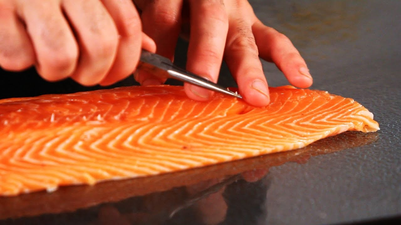 How to remove pin bones from salmon fish filleting youtube for Fish without bones