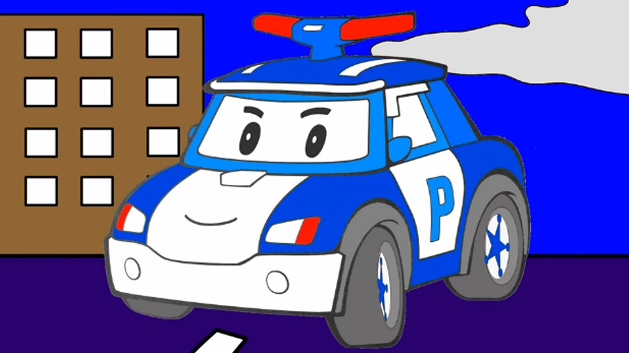 Раскраска из мультфильма - Робокар Поли - полицейская ...