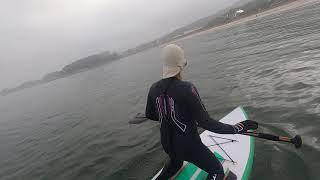 만리포 아침, 패들보드, 바다수영, 서핑 연습