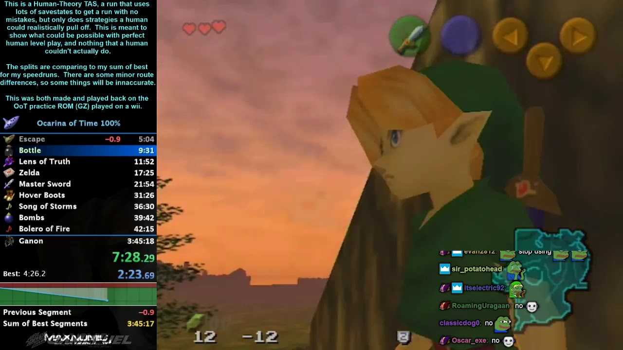 Ocarina of Time 100% Human Theory TAS in 3:39:19