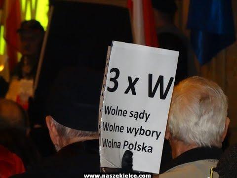 """Pikieta KOD """"3 razy W"""" w Kielcach 24.11.2017"""
