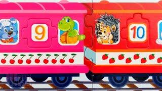 Животные на паровозике с цифрами - Собираем пазлы для малышей | Merry Nika