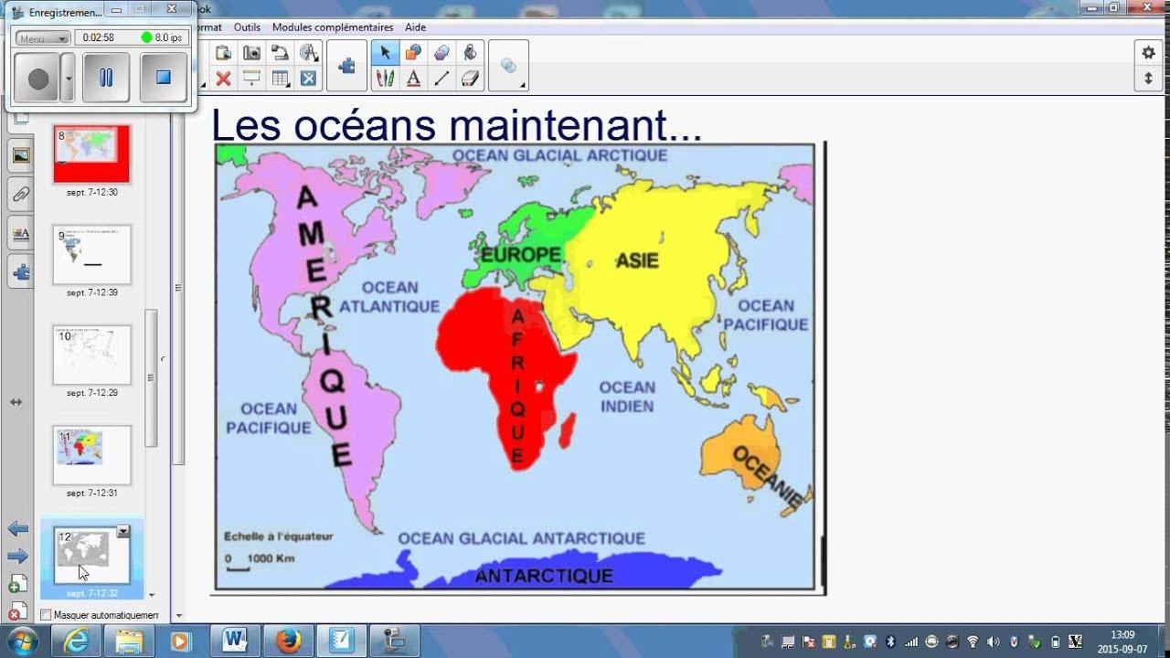 Carte Des Continents Et Oceans Youtube