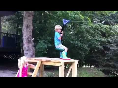 3 Year Old Kids On A Zip Line Youtube