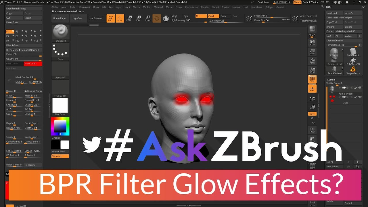 "AskZBrush: ""Is there a way to make a SubTool glow using BPR"