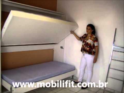 Beliche retratil de parede mobilifit youtube for Sofa que vira beliche