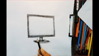 how to draw monitor( LE D) step by step