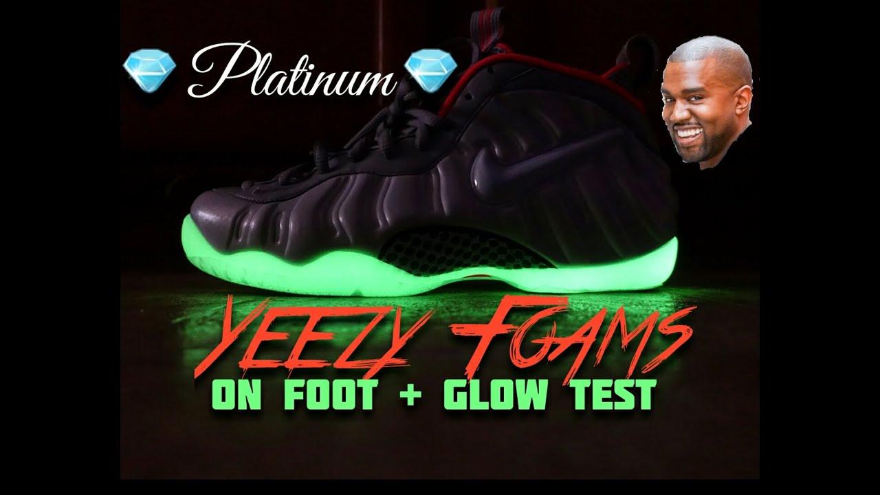 c3d78c8e64f Nike Air Foamposite Pro PRM Pure Platinum On Foot + Glow Test - YouTube