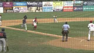 New Britain Rock Cats double play (benny hill style)