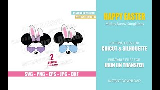 Mickey Minnie Bunny Sunglasses SVG dxf png Disney Mouse Bunnies Ears Bow Cut File Cricut Silhouette