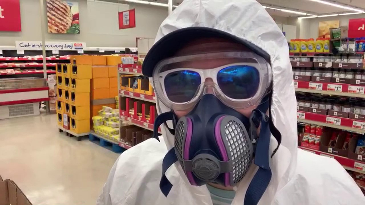 Grocery Shopping in A BioHazard Suit in New York During The Pandemic
