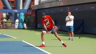 Del Potro is practicing  before match with Rafael Nadal US OPEN 2017