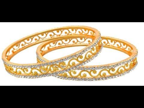 stylish Diamond Stone Bangle Designs Single Line Diamond